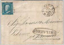 ANTICHI STATI - SICILIA : Sassone 8 su BUSTA da  MILAZZO a  PALERMO 1859