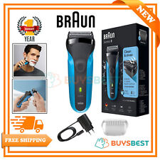 Braun Series 3 Mens Rechargeable Wet & Dry Cordless Electric Shaver - Blue 310S