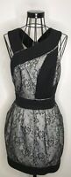 Ladies REISS Black And Cream Lace Effect Short Open Back Dress Size 10 Party