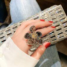 Luxury Transparent Crystal Big Flowers Rings Women Rhinestone Wedding Jewelry