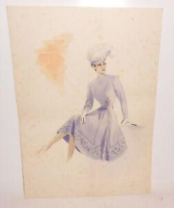 Art Deco Mode Zeichnung Kleid 1943  Modedesign Ingeborg Lehmann Dekorativ !