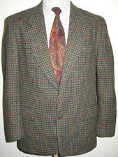 "Genuine Harris Tweed men's brown houndstooth pattern blazer Jacket 40"" R Euro 50"