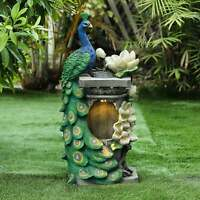 Polyresin Peacock Outdoor Fountain with LED Light Multi-Color