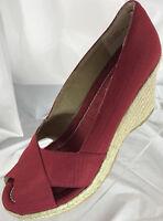 "MARKON ""GIO"" Red Canvas Espadrilles Women's Size 8.5M Shoes Peep Toe Heels NEW"