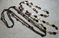 VINTAGE TO NOW LONG BROWN LUCITE & GLASS SEED BEADED NECKLACE LOT