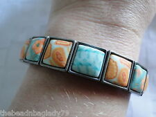 NEW JILZARA Handmade Clay Bead SEA SHORE Blue Orange Square Wrap Bracelet