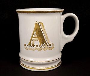 Williams Sonoma Christmas Mug Gold A Initial Letter Monogram 2012 Porcelain Cup