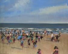 "ORIGINAL MALCOLM LUDVIGSEN ""A busy Scarborough Beach"" Yorkshire Coast PAINTING"