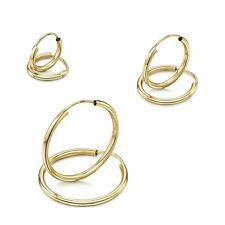 Amberta 9ct Yellow Gold Hoops Sleeper Creole for Women Round Endless Earrings
