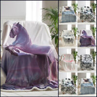 Animal Throws Soft Warm Fleece Flannel Sherpa Blankets For Sofa Bed Settee Couch