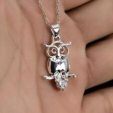 Silver 3D Owl Pendant Sapphire Necklace Chain 20inch Women Fancy Jewelry Gift