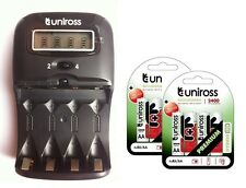 UNiROSS LCD 1-2 HOUR AA/AAA CHARGER & 8 x AA 2400 Series Hybrio Rechargeables