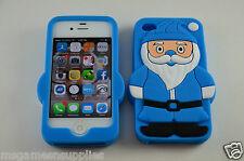 Blue Santa Claus St. Nick Christmas iPhone 4 4S 3D Silicone Gel Full Back Case