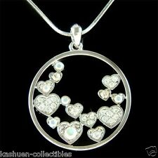w Swarovski Crystal Cute Floating CIRCLE OF LOVE Heart Pendant Necklace NEW Xmas