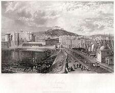 NAPOLI CAPITALE: PANORAMA DAL MOLO.Regno delle Due Sicilie.HAKEWILL.ACCIAIO.1820