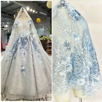 Sequins Embroidered Floral Lace Applique Patch Fabric Wedding Dress Adorn Craft