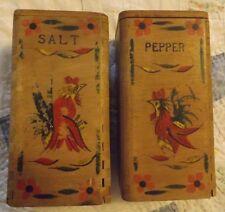 VTG Large Wooden Salt & Pepper Shakers Chicken Hen Rooster Country Kitchen Decor