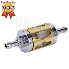 Motorcycle Aluminum Gold Glass Metal Fuel Filter for 8mm 5/16'' Inline Universal