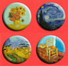 VINCENT VAN GOGH BADGE BUTTON PIN 25mm (1 inch) Sunflowers, Starry Night, Artist