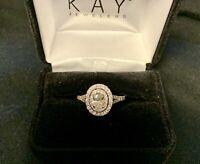 Neil Lane 14K White Gold Oval Diamond Halo Engagement Ring Size 7