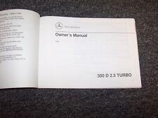 1991 Mercedes Benz 300D 2.5 Diesel Turbo Owner Owner's Operator Manual 2.5L