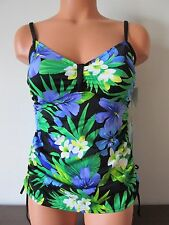 Caribbean Joe Tropical Printed Tankini Swim Top Floral on Black Size 10 NWT