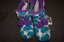 Sesame Street Cookie Monster Women's/Teens Slippers NEW  5-6 S w/ Tassles Comfy