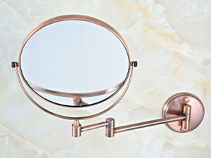 Antique Red Copper Beauty Makeup Cosmetic Double-Sided Magnifying Mirror eba631