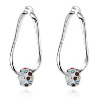 18K White Gold Plated French Lock Twist Earrings made with Swarovski Crystal