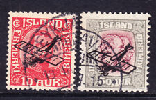 ICELAND 1928/9 SG156/7 2 Air stamps opt with plane - very fine used. Cat £111