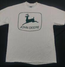 Vintage John Deere Tractors Graphic Logo  White Tshirt Size  L