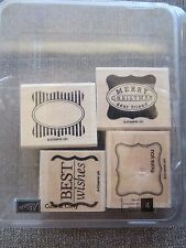 Cute & Curly Set of 4 Stampin Up Rubber Stamps Merry Christmas, Best Wishes, Tha