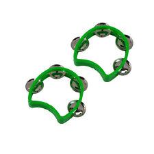 2 pièces plastique vert tambourins Demi Fleur Petit percussion à main pour