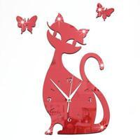 Rot Cute Cat Wanduhr Butterfly Mirror Modern Design Home Decor Watch Wohnzimmer