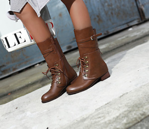 Women Boots Ankle Combat Military Chunky Heels Lace Up Buckle Punk Shoes Zipper