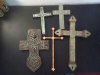 Lot Of 5 Hanging Wall Cross Crucifix Christian