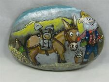 "Painted Rock, ""Gold Fever"", Comical Mining Scene, #kcpr7"