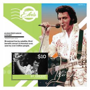 St. Vincent 2014 - Elvis Presley, Aloha From Hawaii Show - Souvenir Sheet - MNH