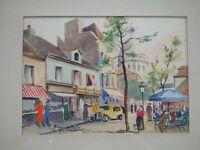 Tableau Montmartre Paris René de Olinda aquarelle années 1940 - 1950 Sacré-Cœur