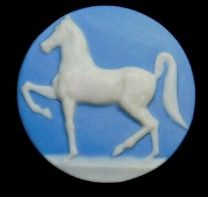 Vintage Collectible Button X-Large Blue Wedgwood Prancing Horse Jasperware
