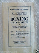 More details for 1914 2nd life guards boxing tournament supplementary programme in silk 16 march