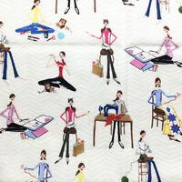 Maker Theme Quilting Cotton Fabric 1y Robert Kaufman Girls Sew Knitting Craft