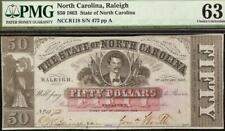 1863 $50 DOLLAR RALEIGH NORTH CAROLINA NOTE LARGE CURRENCY PAPER MONEY PMG 63