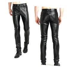 Negro De Hombre Estilo Motero Piel Sintética Pantalones entallada PUNK ROCK