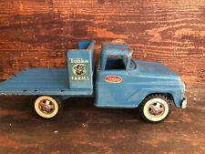 Vintage 60s Tonka Farms Stake Truck Pressed Steel USA Made Blue NICE!!