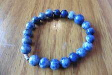 Handmade Denim Lapis Lazuli Bracelet beaded stretch sterling silver 925 blue