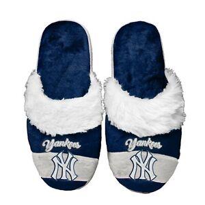 New York Yankees Women's Stripe Logo SLIDE SLIPPERS New FREE U.S.A. SHIPPING
