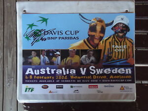 A4 2004 AUS V SWEDEN  DAVIS CUP POSTER HANDSIGNED BY MARK PHILIPPOUSSIS