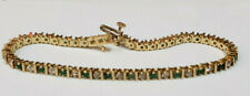 14k Yellow Gold Natural Emerald 25 Diamonds 1 Carat Tennis Bracelet 11Gram 7Inch