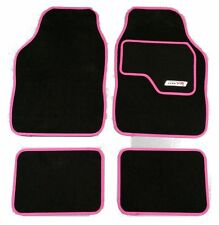 Full Black Carpet Car Floor Mats With Pink Boarder For Vauxhall ASTRA CORSA VECT